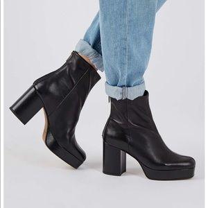 Topshop margarita black leather platform boot 7/37